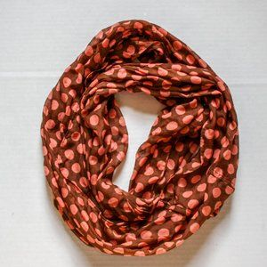 Brown And Pink Infinity Scarf Polka Dot